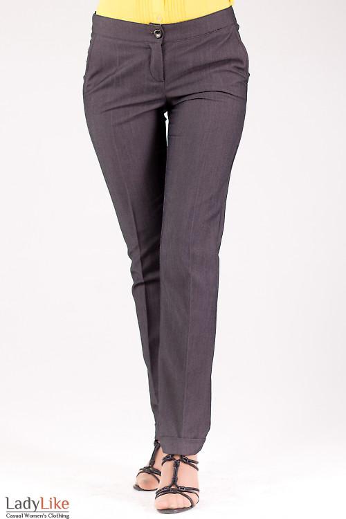 Фото Брюки с манжетами серые Деловая женская одежда