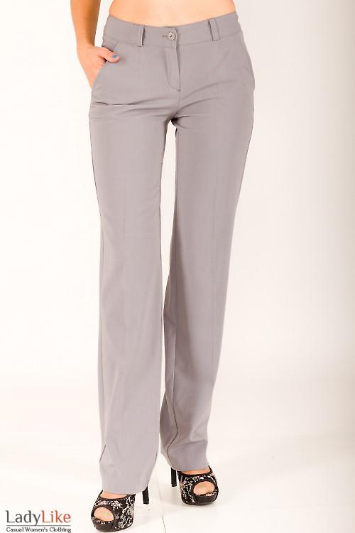 Фото Брюки серые прямые Деловая женская одежда