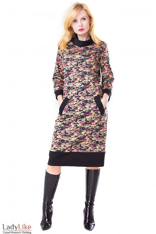 Фото Платье камуфляжной расцветки Деловая женская одежда