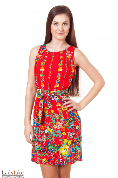 Платье красное в бабочки Деловая женская одежда