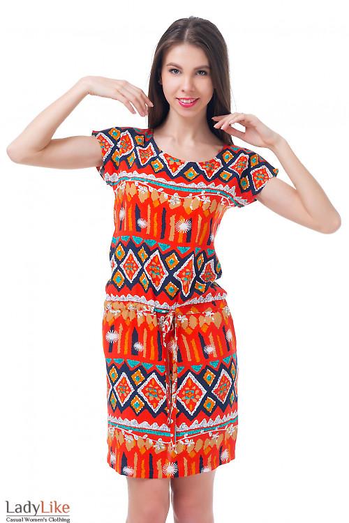 Платье рыжее с кулиской Деловая женская одежда