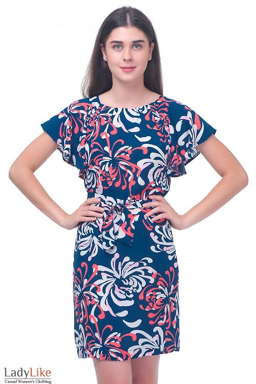 Платье синее с крылышками Деловая женская одежда