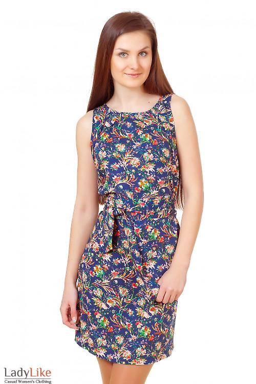 Платье синее с защипами Деловая женская одежда