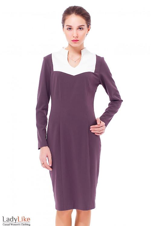 Купить платье сиреневое с белым воротником Деловая женская одежда