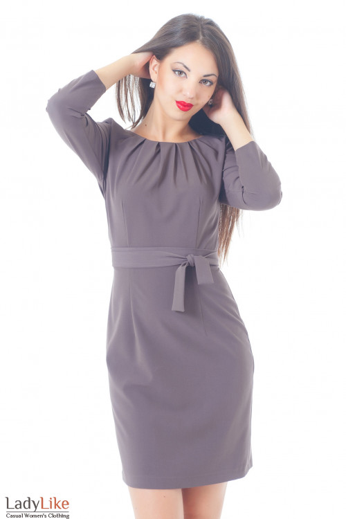 Купить Платье сиреневое с защипами и длинным рукавом Деловая женская одежда