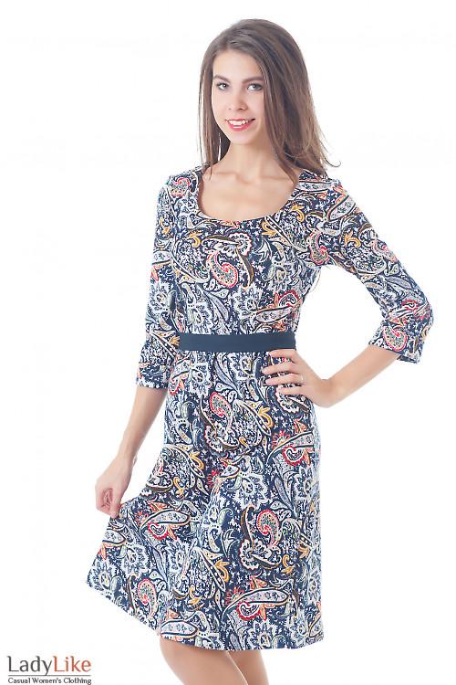 Платье трикотажное с юбкой-трапецыей Деловая женская одежда