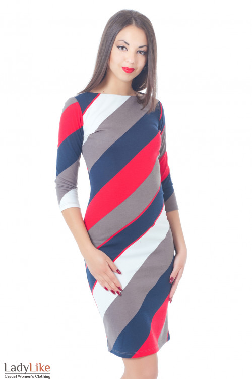 Купить платье трикотажное в косую полоску Деловая женская одежда