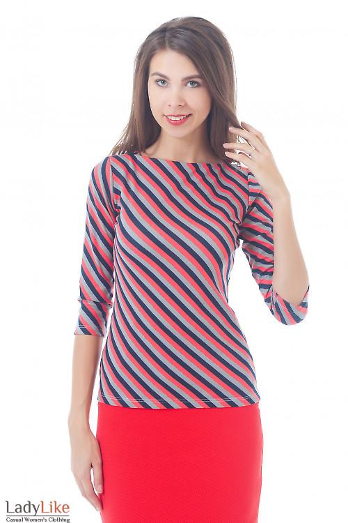 Купить тунику трикотажная в полоску Деловая женская одежда