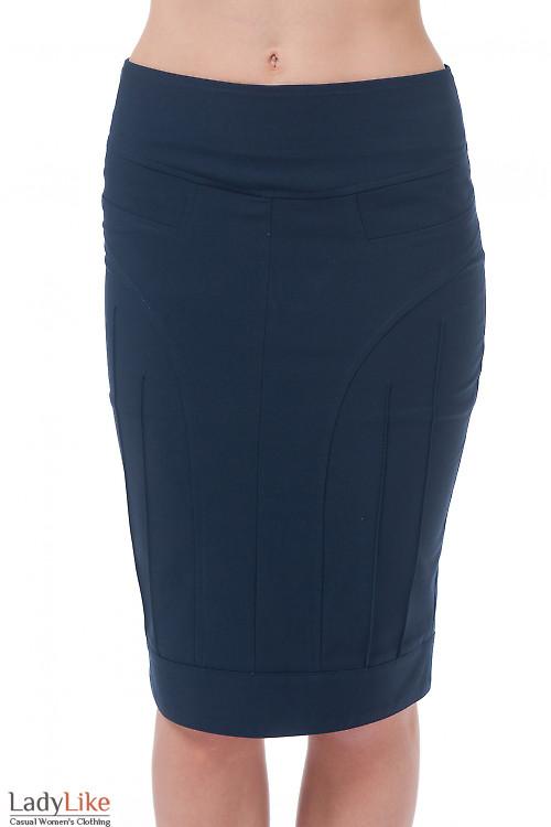 Юбка-карандаш синяя Деловая женская одежда