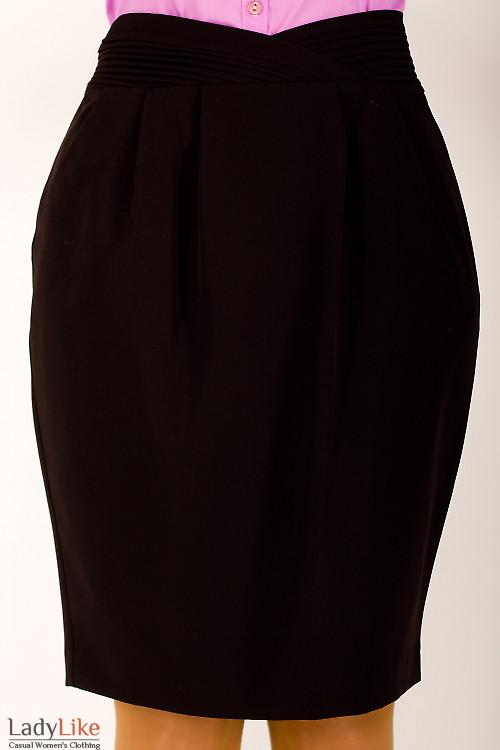 Фото Юбка черная с фигурным поясом Деловая женская одежда