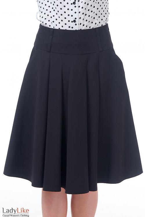 Юбка черная со складками и карманами Деловая женская одежда