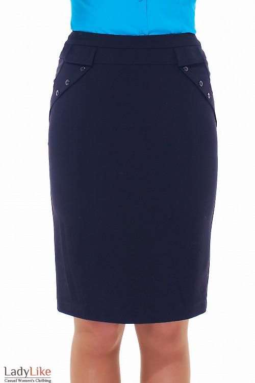 Купить юбку черную теплую с клапанами Деловая женская одежда