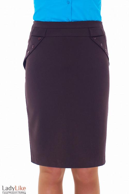 Купить юбку коричневую с клапанами Деловая женская одежда