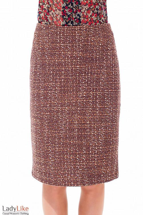 Купить коричневую шерстяную юбку Деловая женская одежда