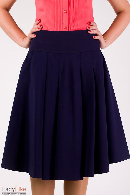Фото Юбка пышная с карманами синяя Деловая женская одежда