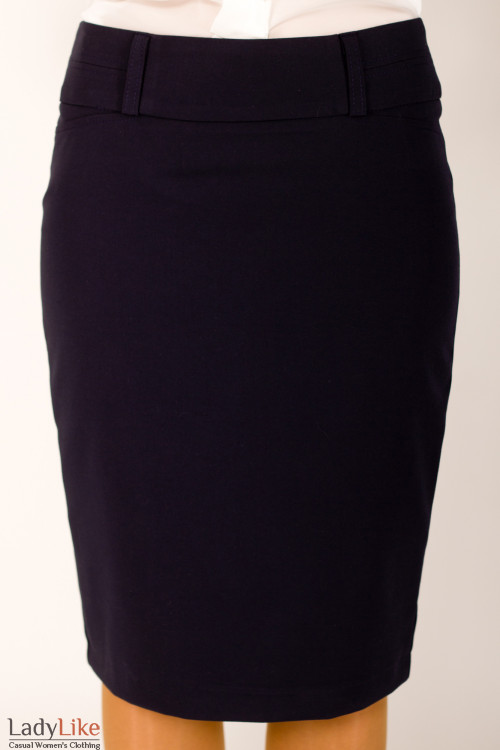 Фото Юбка с отстроченным поясом темно-синяя Деловая женская одежда
