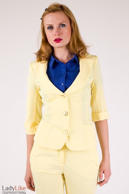 Фото Жакет с коротким рукавом желтый Деловая женская одежда