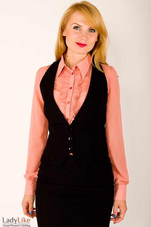 Фото Жилетка черная с узким воротником Деловая женская одежда