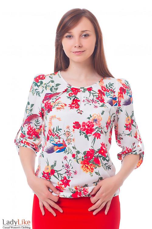 Блузка белая в красные птички Деловая женская одежда