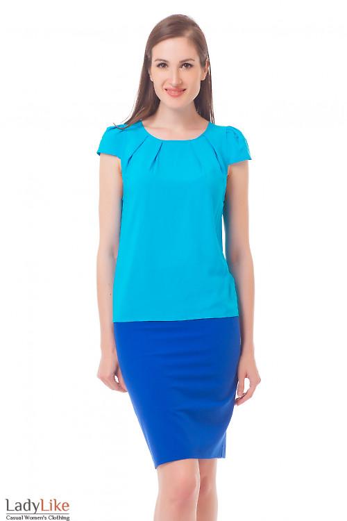 Блузка голубая с рукавчиком Деловая женская одежда