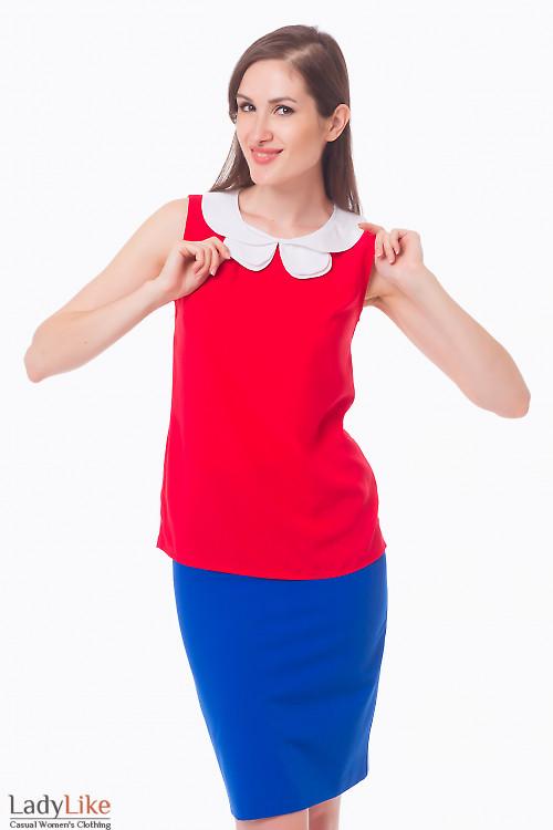 Блузка красная с двойным белым воротником Деловая женская одежда