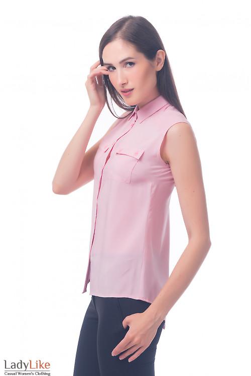 Фото Блузка из штапеля розовая Деловая женская одежда