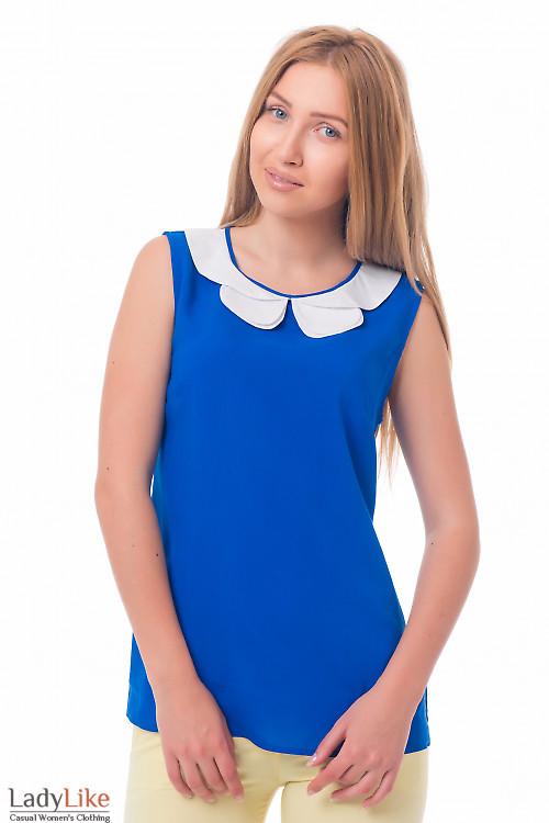 Блузка синяя с двойным белым воротником Деловая женская одежда