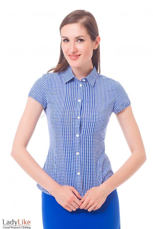 Блузка в синюю клетку с защипами Деловая женская одежда