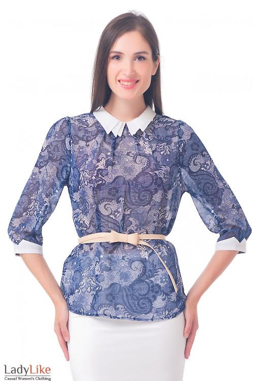 Блузка в синюю паутинку Деловая женская одежда