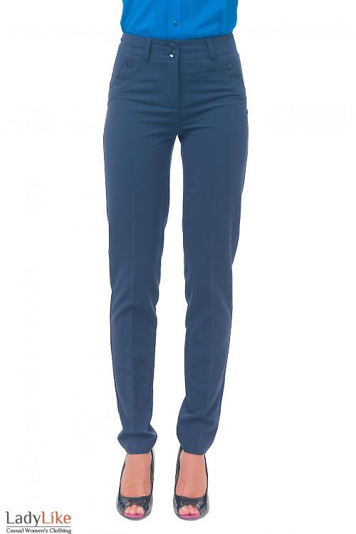 Брюки синие женские с клапанами Деловая женская одежда