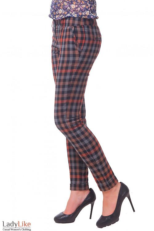 Купить брюки теплые в равномерную клетку Деловая женская одежда