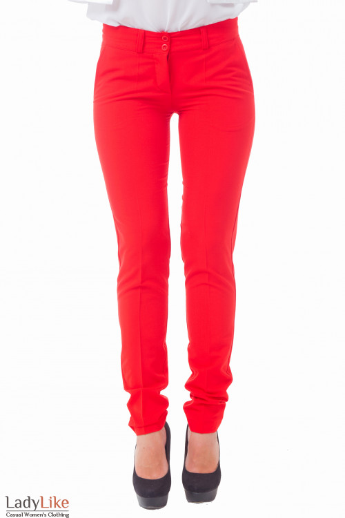 Брюки женские красные с карманами Деловая женская одежда