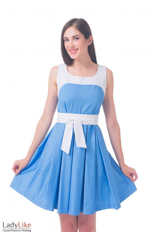 Платье голубое с пышной юбкой Деловая женская одежда