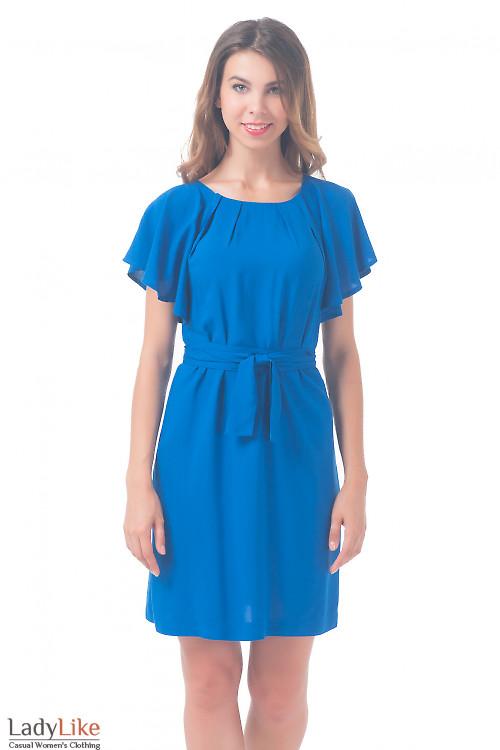 Платье однотонное синее с крылышками Деловая женская одежда