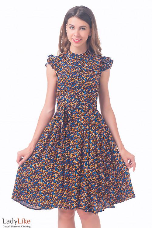 Платье темно-синее в цветочек Деловая женская одежда