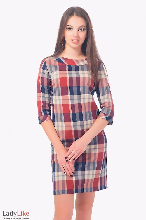 Платье теплое в разноцветную клетку Деловая женская одежда