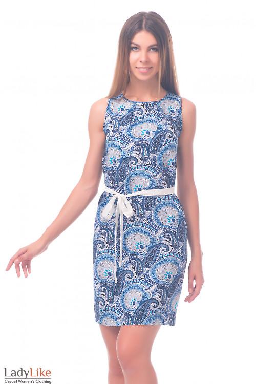 Фото Платье в синие огурцы из штапеля Деловая женская одежда