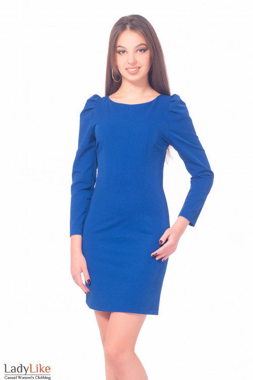 Ярко-синее платье с длинным рукавом Деловая женская одежда