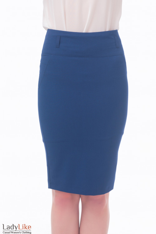 Фото Юбка-карандаш синяя узкая Деловая женская одежда