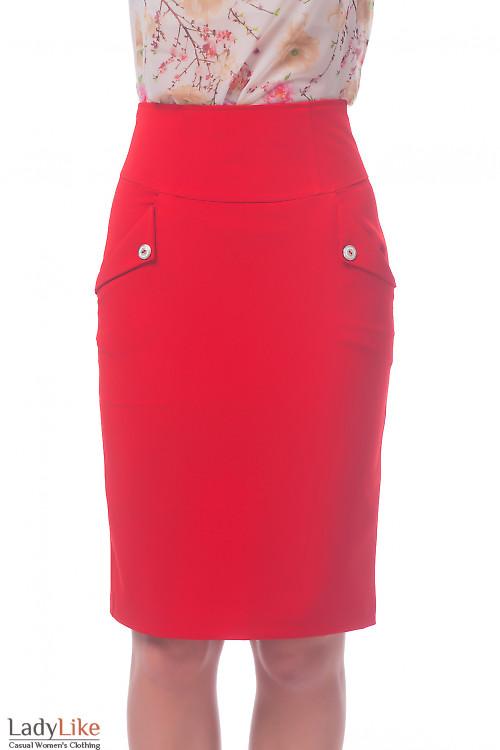Фото Юбка красная с карманами Деловая женская одежда