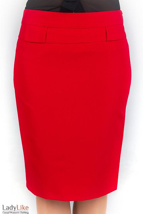 Фото Юбка красная с разрезом Деловая женская одежда