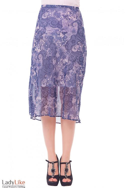 Юбка миди синяя в розовый узор  Деловая женская одежда