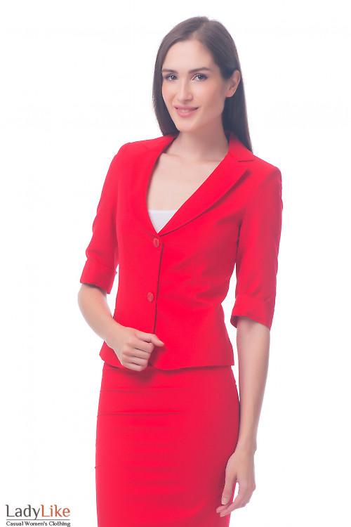 Фото Жакет с рукавом в три четверти красный Деловая женская одежда