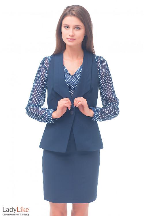 Жилетка синяя удлиненная женская Деловая женская одежда