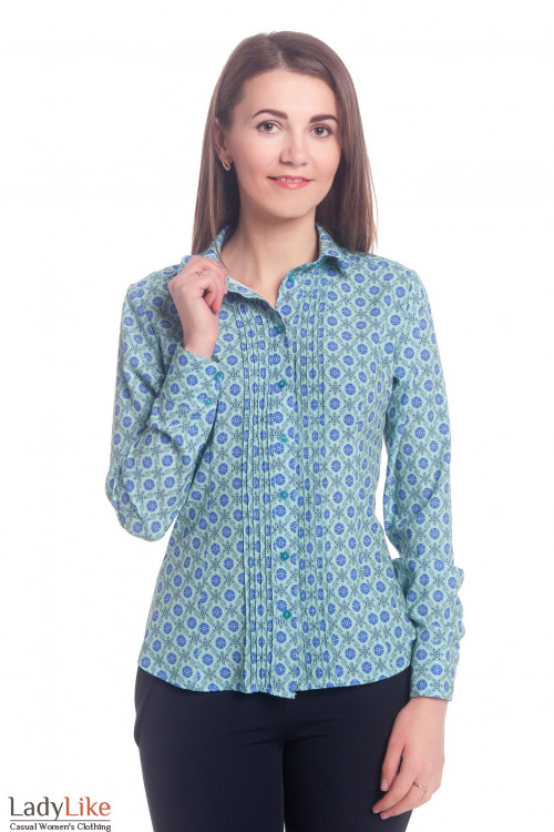 Блузка бирюзовая в синие цветы Деловая женская одежда