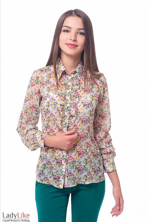 Блузка молочная из шифона в розы Деловая женская одежда