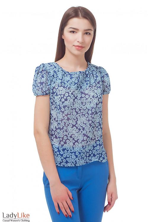 Блузка синяя в голубой узор Деловая женская одежда