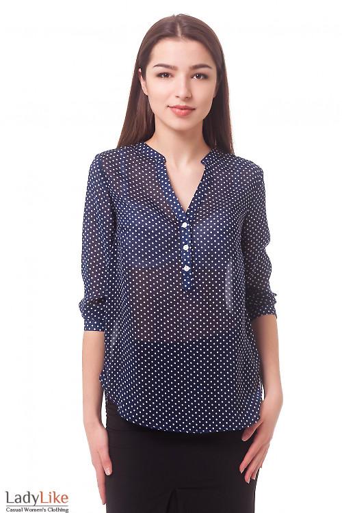 Блузка в мелкий горошек с планкой Деловая женская одежда