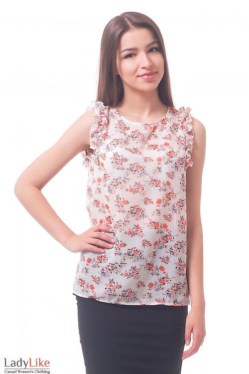 Блузка в оранжевые цветы с рюшем  Деловая женская одежда