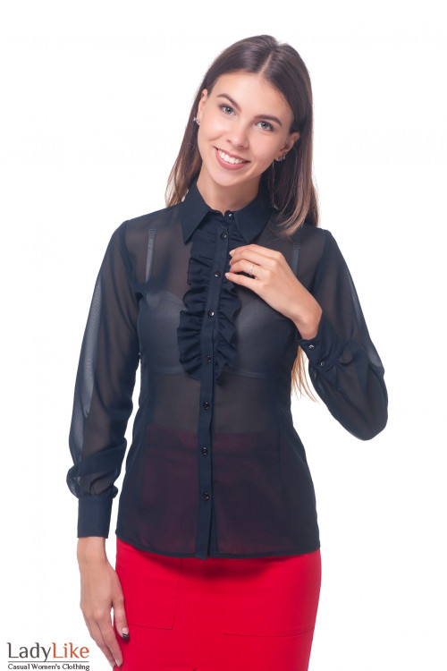 Блузка женская из черного шифона Деловая женская одежда